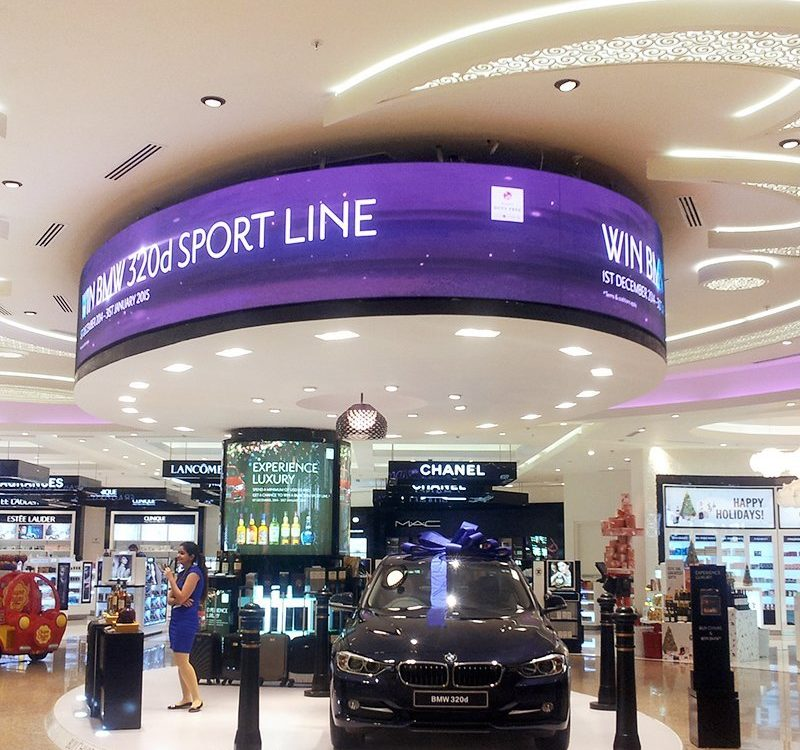 Oval LED display at duty free area Mumbai International airport